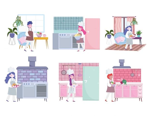 Blijf thuis, vrouwelijke en mannelijke chef-kok die voedsel bereidt, quarantaineactiviteiten kookt