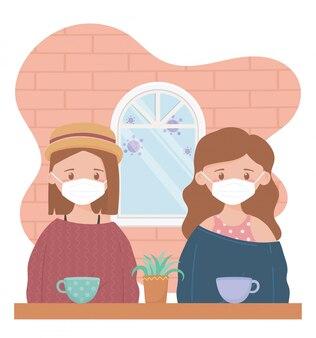 Blijf thuis, vrouwen met beschermend masker en koffiekopjes