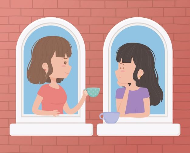 Blijf thuis, vrouwen met koffiekopjes praten in de ramen