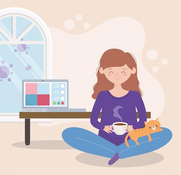 Blijf thuis, zwangere vrouw met koffie en kat erin