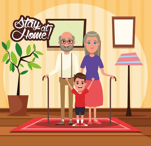 Blijf thuiscampagne met grootouders en kleinzoon