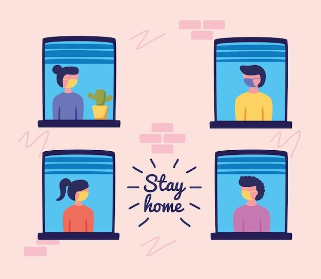 Blijf thuiscampagne met mensen in ontwerp van de vensters het vectorillustratie