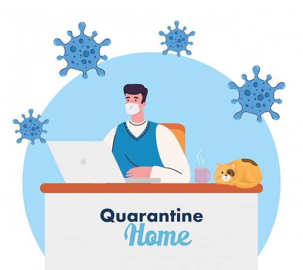 Blijf thuiswerk thuis, bescherm jezelf, blijf op afstand om infectie te voorkomen, blijf thuis in quarantaine tijdens het coronavirus