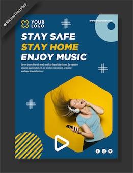 Blijf veilig, blijf thuis en geniet van muziekposterontwerp