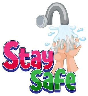 Blijf veilig lettertype met handen wassen geïsoleerd
