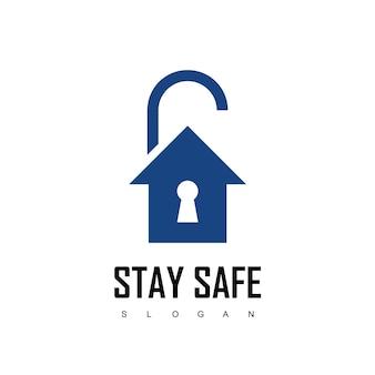 Blijf veilig, lockdown-ontwerpsjabloon met huis- en hangslotsymbool
