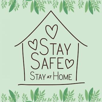 Blijf veilig thuis en woningbouw met harten vectorontwerp