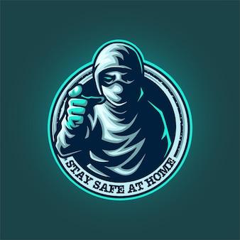 Blijf veilig thuis mascotte logo
