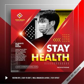 Blijf veilig vierkante banner om de promotiesjabloon van de coronavirus-aanval te voorkomen