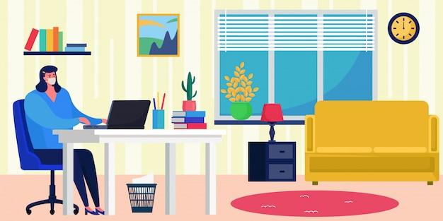 Blijf veilig, werk thuis illustratie. kantoor thuis tijdens quarantaine, zorg voor virusisolatie. vrouw karakter in masker