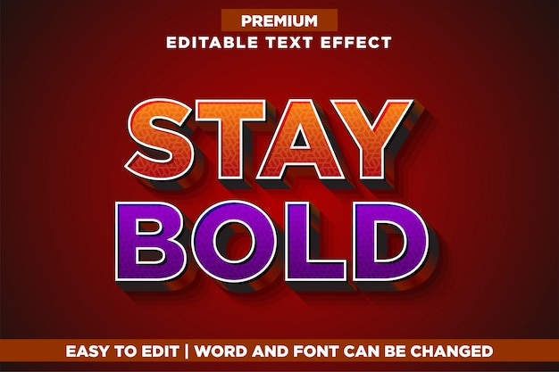 Blijf vet, premium bewerkbare teksteffect-lettertypestijl