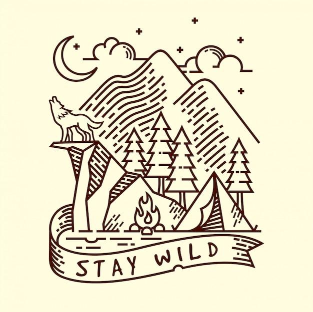 Blijf wild lineaire illustratie