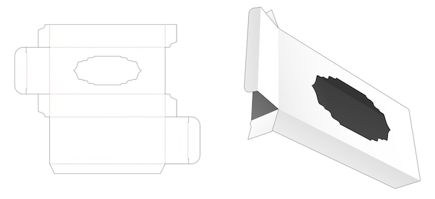 Blik en lange doos met luxe raam gestanst sjabloon