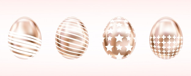 Blik metalen eieren in roze kleur