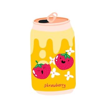 Blikje frisdrank met aardbei met creaml aluminium blikje limonade kawaii schattig fruit