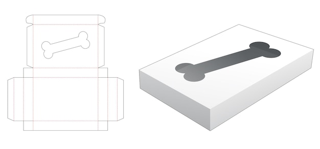 Blikken doos met gestanst sjabloon in de vorm van een hondenbot