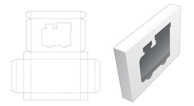 Blikken doos met gestanst sjabloon in de vorm van een locomotiefvenster