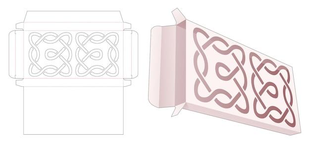 Blikken doos met gestanste sjabloon met gebogen lijnsjabloon