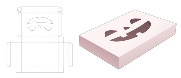 Blikken doos met gestencild halloween-patroon gestanst sjabloon Premium Vector
