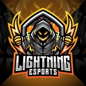 Bliksem esport mascotte logo ontwerp