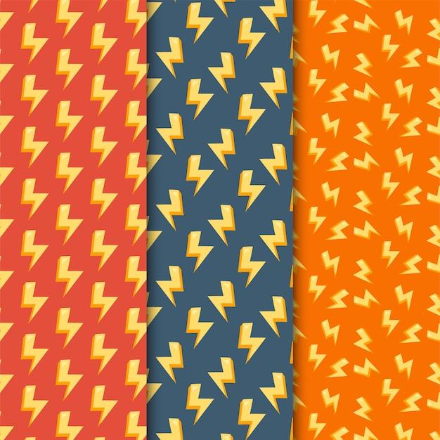Bliksem naadloze patroon set