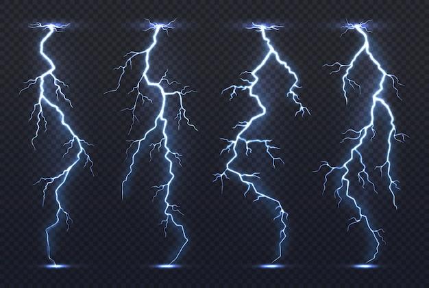 Bliksem. onweersbui elektriciteit blauwe lucht flits stormachtig realistisch onweer regenbui klimaat.