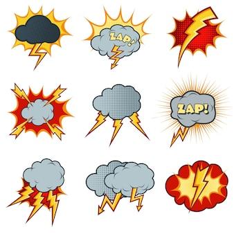 Bliksem pictogrammen instellen in cartoon komische stijl. flitsexplosie, wolkkarikatuur, elektriciteitsdonder