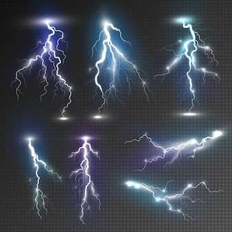 Bliksem pictogrammen instellen. realistische set bliksempictogrammen voor web geïsoleerd op transparante achtergrond