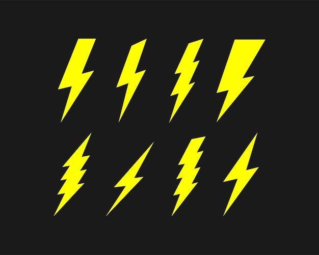 Bliksem pictogrammenset geïsoleerd op zwarte achtergrond. vectoreps 10