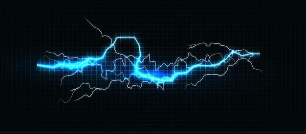 Bliksem verschillende kleuren gloeiende bliksemschicht en oplichtende power shock magische lijnen op zwart