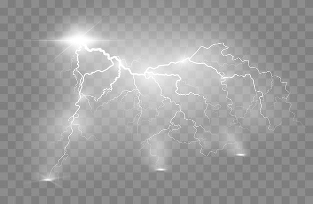 Bliksemflits licht donder vonken op een transparante achtergrond