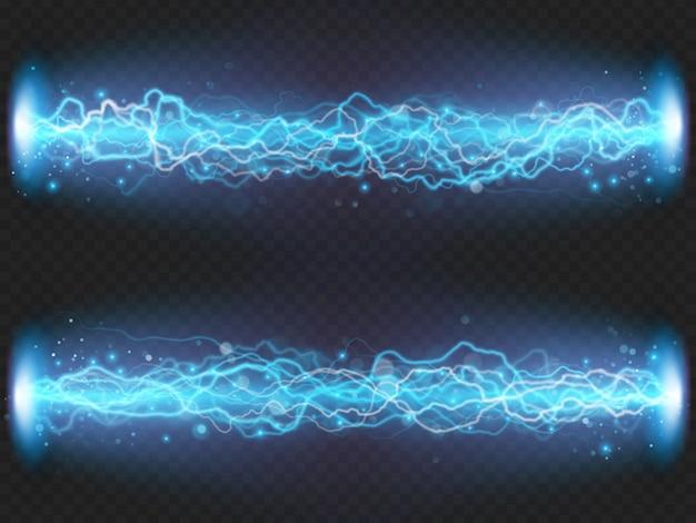 Bliksemflits ontlading van elektriciteit op transparante achtergrond. blauw elektrisch visueel effect.
