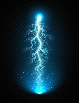 Blikseminslag geïsoleerd op transparante achtergrond. realistische elektrische bliksemschicht met gloeiende sparkles. bliksemflits effect, elektrische ontlading