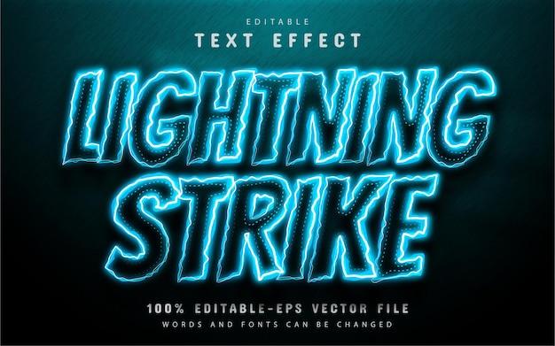 Blikseminslag teksteffect neon stijl