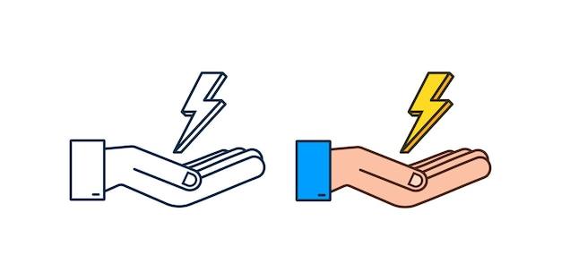 Bliksemschicht in handen. thunderbolt, expertise in blikseminslag. vector illustratie.