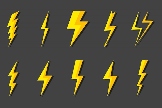 Bliksemschicht instellen. blikseminslag, blikseminslag. moderne vlakke stijl illustratie.