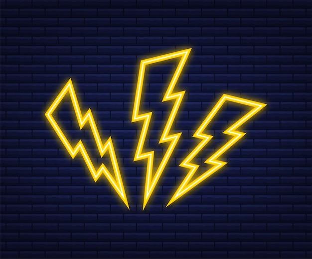 Bliksemschicht neon set. thunderbolt, expertise in blikseminslag. vector illustratie.