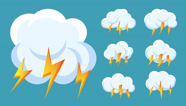 Bliksemschicht onweer wolk pictogrammen instellen. teken storm, donder en blikseminslagen.