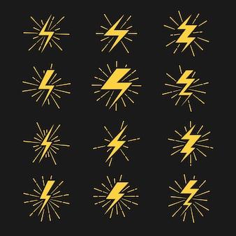 Bliksemschichten vector icons set