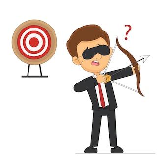 Blinddoek zakenman met boog op zoek naar doelwit in verkeerde richting