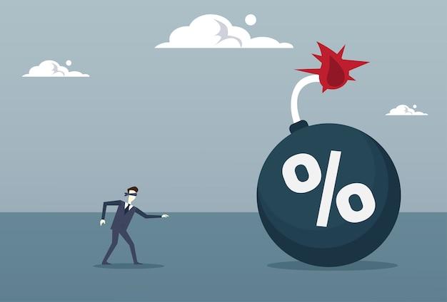 Blinde bedrijfsmens die aan percentenbom komt
