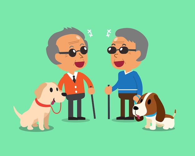 Blinde oudere mannen en hun honden