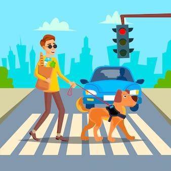 Blinde vector. jonge persoon met pet dog helping companion. handicap socialisatie concept. blinde persoon en geleidehond op zebrapad. cartoon karakter illustratie