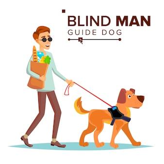 Blinde vector. persoon met hond metgezel. blinde persoon in donkere glazen en geleidehond wandelen. geïsoleerde stripfiguur illustratie