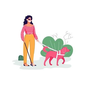 Blinde vrouw karakter met geleidehond platte schets illustratie