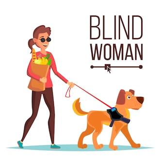 Blinde vrouw vector. persoon met hond metgezel. blinde vrouw in donkere glazen en geleidehond lopen. geïsoleerde stripfiguur illustratie
