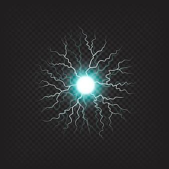 Blinderende bal met realistisch effect van bliksemschichten