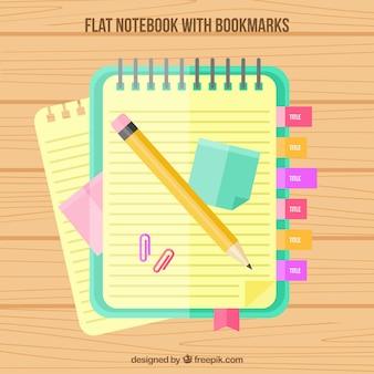 Bloc met bookmarks en potlood