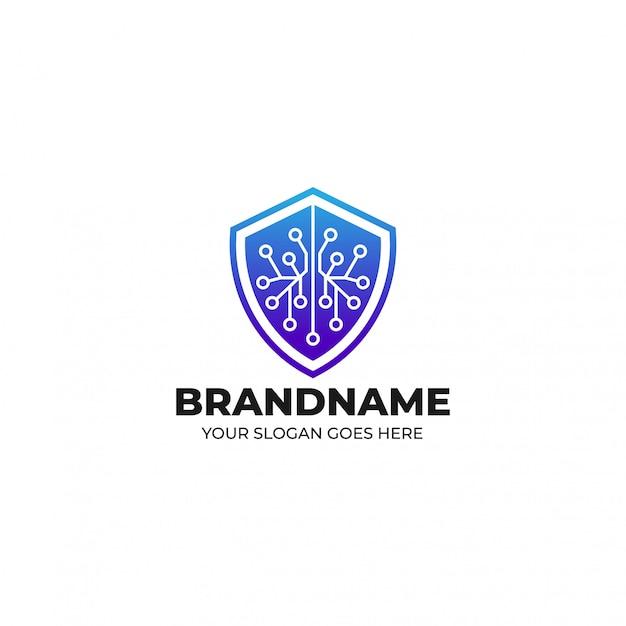 Blockchain beveiligingssysteem verdediger logo sjabloon