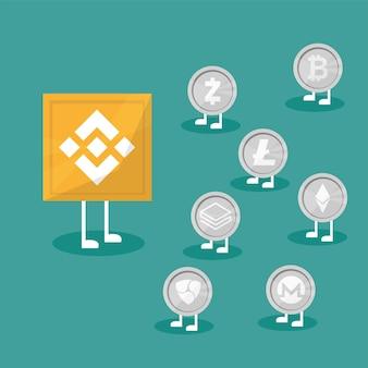 Blockchain binance - cryptocurrency-uitwisselingstechnologie. vectorillustratie in platte ontwerpstijl. bedrijfsconcept